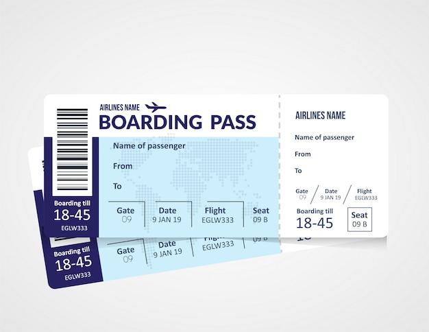 Bilhete de avião, modelo de cartão de embarque de avião.
