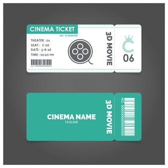 Bilhete de cinema com detalhes verdes