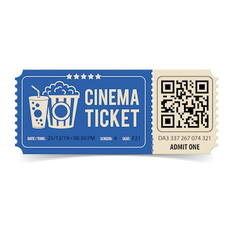 Bilhete de cinema com qr code