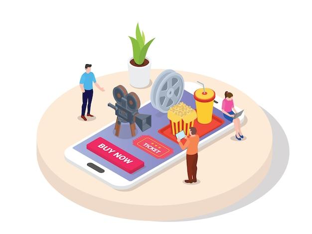 Bilhete de cinema de reserva de conceito. homens mulheres compram ingresso de cinema on-line através da aplicação em dispositivos portáteis para tablet telefone celular com estilo 3d isométrico dos desenhos animados.