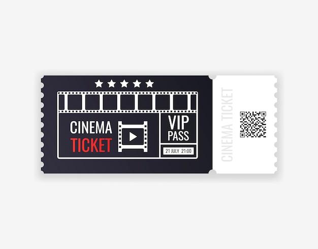 Bilhete de cinema isolado em fundo transparente. bilhete de entrada de cinema realista.