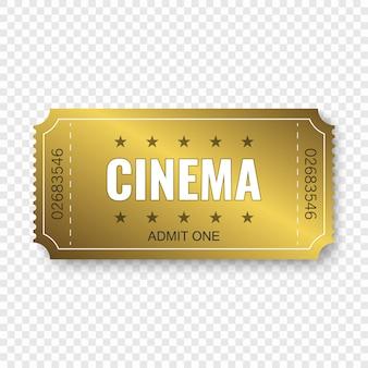 Bilhete de cinema isolado em transparente