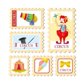 Bilhete de circo. cartaz de carnaval. show de circo. diferentes artistas de circo.