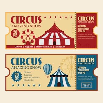 Bilhete de circo vintage horizontal