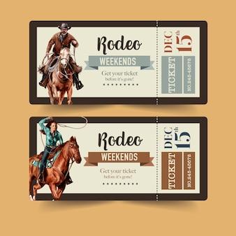 Bilhete de cowboy com rodeio americano