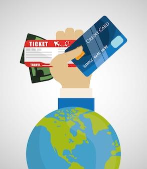 Bilhete de dinheiro de turismo mundo de cartão de crédito de viagem