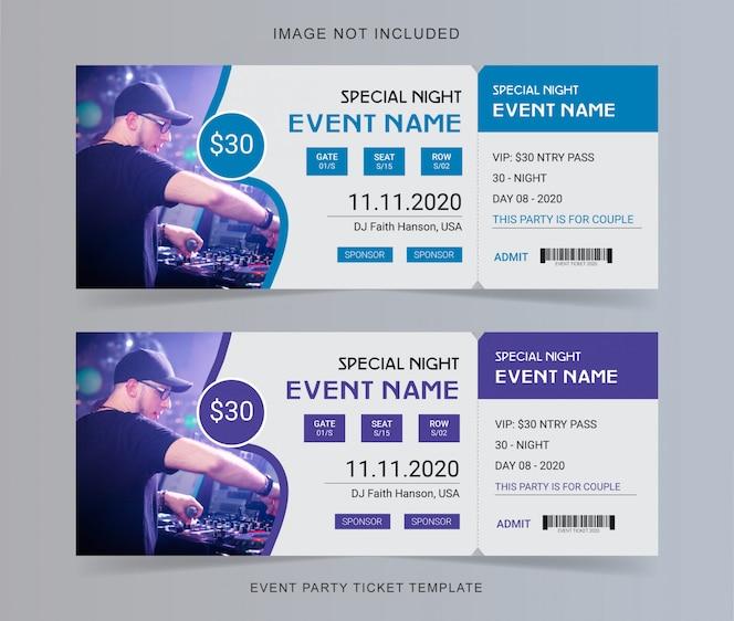 bilhete de festa do evento
