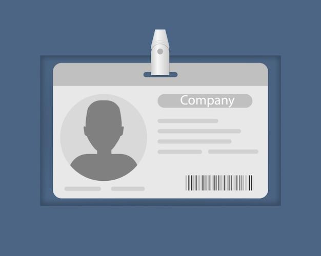 Bilhete de identidade do funcionário da empresa, crachá, cartão de informações do funcionário.