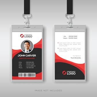 Bilhete de identidade profissional com detalhes vermelhos