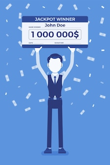 Bilhete de loteria premiado, homem feliz segurando um cheque gigante