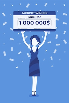 Bilhete de loteria premiado, mulher feliz segurando cheque gigante
