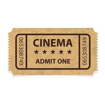 Bilhete de papelão de cinema retrô em fundo branco