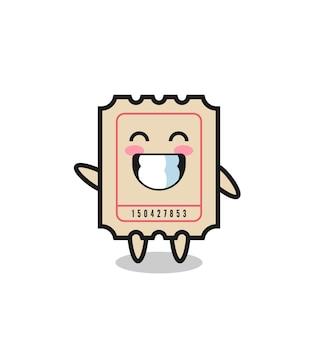 Bilhete de personagem de desenho animado fazendo gesto de onda com a mão, design de estilo fofo para camiseta, adesivo, elemento de logotipo