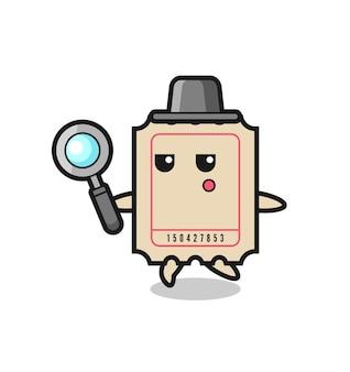 Bilhete de personagem de desenho animado procurando com uma lupa, design de estilo fofo para camiseta, adesivo, elemento de logotipo