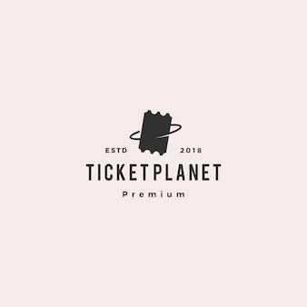 Bilhete de planeta logo vector icon ilustração