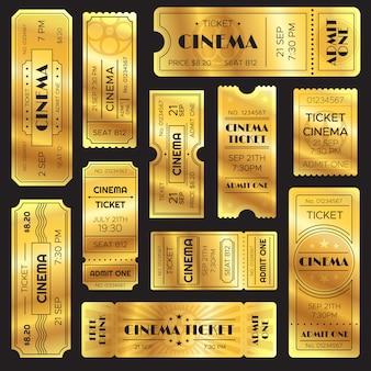 Bilhete de show dourado realista