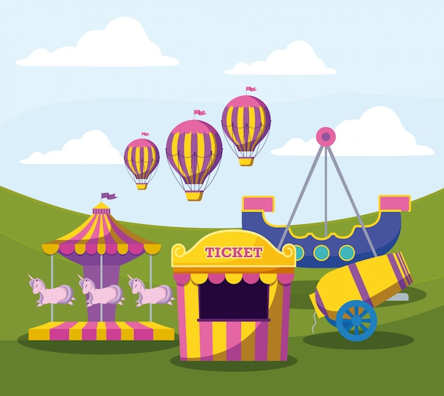 Bilhete de tenda de circo com conjunto de ícones