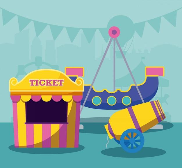Bilhete de venda de tenda de circo com canhão