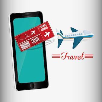 Bilhete de viagem design de avião de smartphone