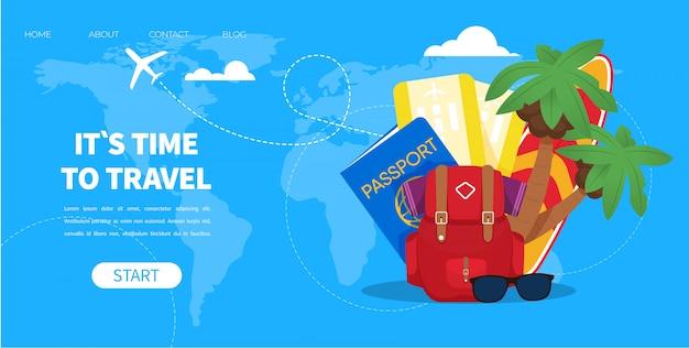Bilhete do avião do passaporte da trouxa dos acessórios do turista