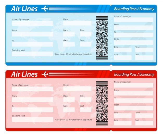 Bilhete do cartão de embarque da linha aérea para viajar de avião.