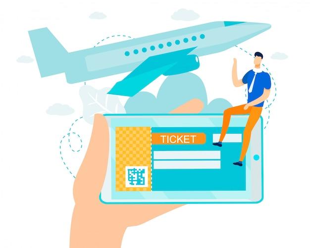 Bilhete eletrônico plano com código de barras para voos no celular