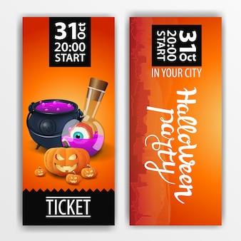 Bilhete laranja para a festa de halloween