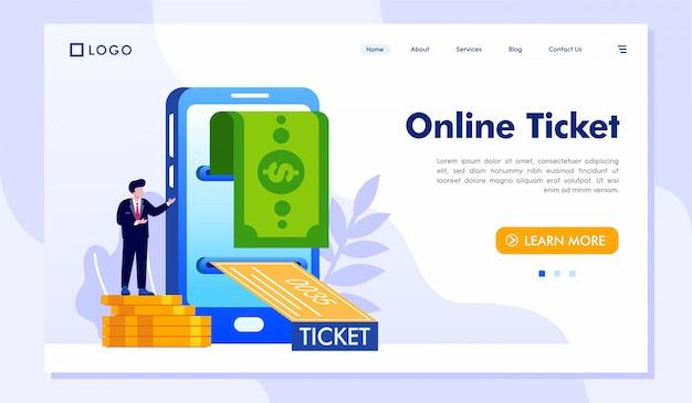 Bilhete online página inicial site ilustração vector