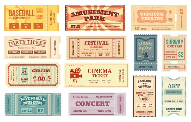 Bilhetes antigos, filme retro, concerto, bilhete de teatro. cartão de comprovante de papel antigo, passe de entrada para eventos esportivos, circo admite um conjunto de vetores de cupom