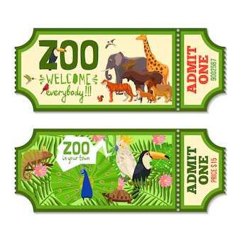 Bilhetes coloridos do jardim zoológico com fundo tropical
