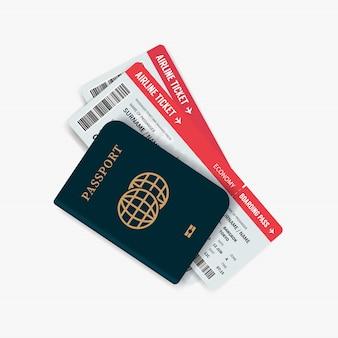 Bilhetes de avião e passaporte.
