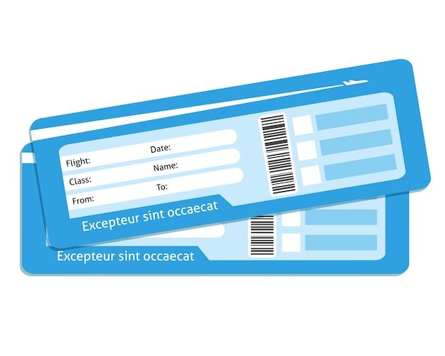 Bilhetes de avião em branco