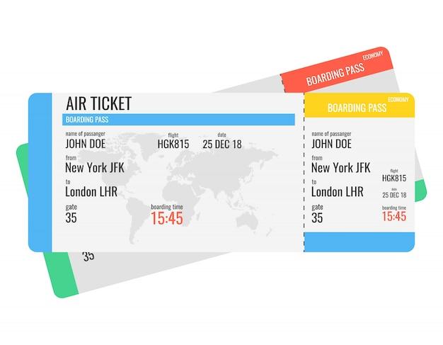 Bilhetes de cartão de embarque de companhias aéreas