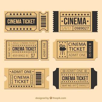 Bilhetes de cinema de brown com detalhes em preto