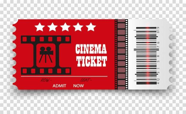 Bilhetes de cinema de vetor isolados. bilhete de entrada de cinema realista.