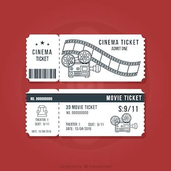Bilhetes de cinema do vintage ajustados