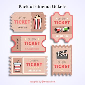 Bilhetes de cinema do vintage com detalhes vermelhos