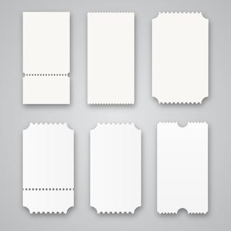 Bilhetes de cinema em branco isolados
