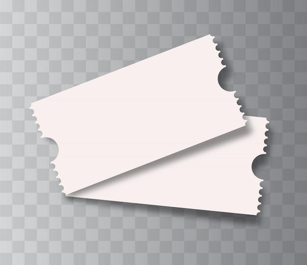 Bilhetes de cinema em branco isolados.