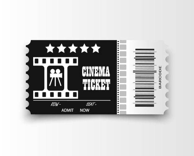 Bilhetes de cinema em fundo transparente. bilhete de entrada de cinema realista.
