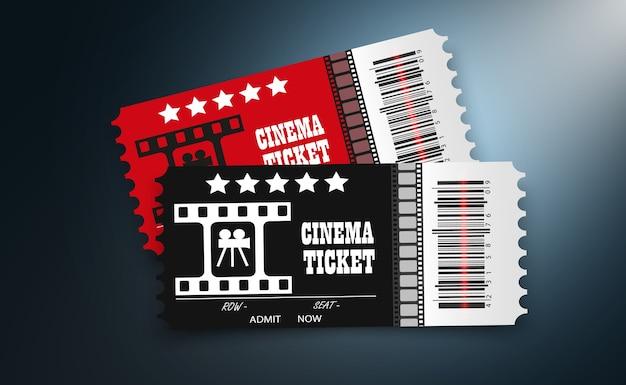 Bilhetes de cinema isolados em fundo transparente. bilhete de entrada de cinema realista.
