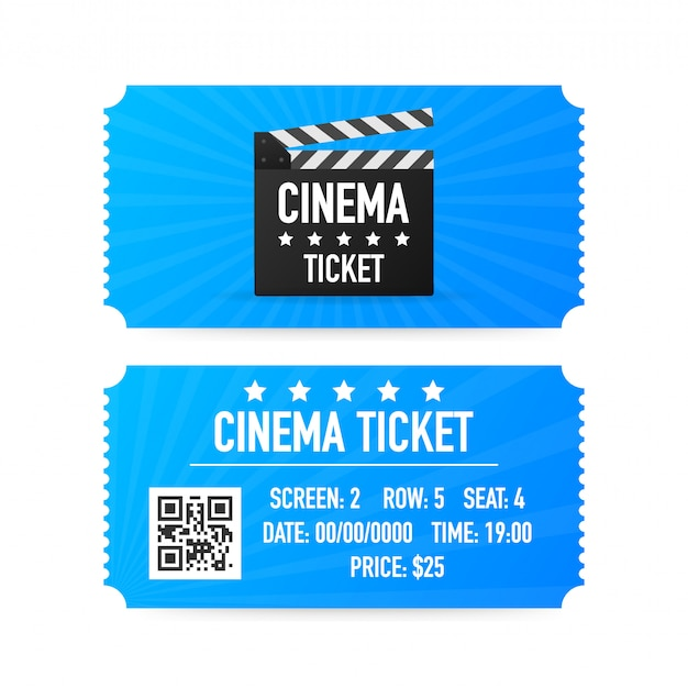 Bilhetes de cinema isolados no fundo branco. vista frontal realista. banner de filme. conjunto de bilhetes de cinema