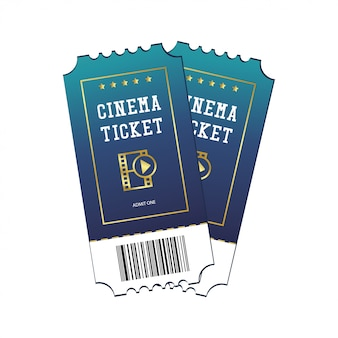 Bilhetes de cinema pintados em azul, isolado no fundo branco
