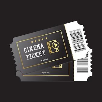 Bilhetes de cinema pintados em preto, isolado no fundo escuro