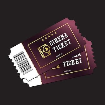 Bilhetes de cinema pintados em roxo isolado em fundo escuro