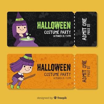Bilhetes de festa a fantasia de halloween