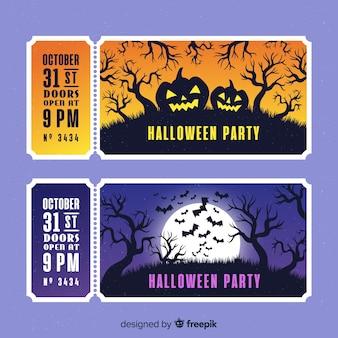 Bilhetes de floresta de halloween de mão desenhada