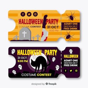 Bilhetes de halloween de design plano