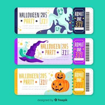 Bilhetes de halloween de mão desenhada