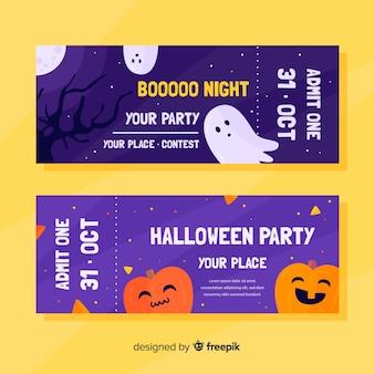 Bilhetes de halloween plana com abóbora e fantasmas